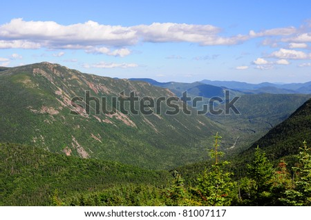 View Into Saco River Valley from Mt. Avalon - stock photo