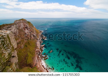 View into the abyss from Cape Point - stock photo