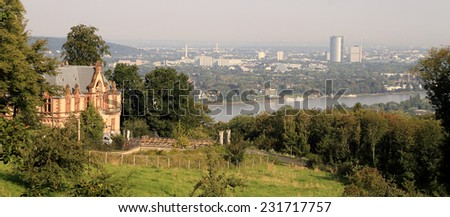 View into the Rhine valley near Koenigswinter, germany - stock photo