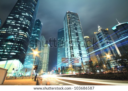 View long exposure photographs of urban night dusk Highway Traffic, Shot in Shanghai - stock photo