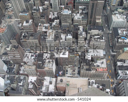 view looking down from Empire State Building - stock photo