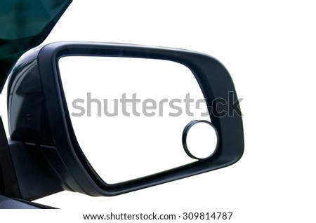 View mirror on the side of the device allows the driver to safety isolated with clipping path. - stock photo