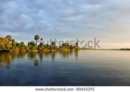 view near Kampot, Cambodia - stock photo