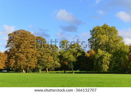 View of a Beautiful Green Lawn and Trees in a Peaceful Park - stock photo