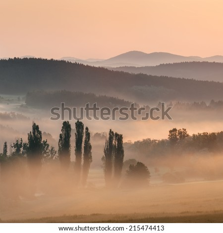 View of a beautiful misty sunrise, panoramic picture. - stock photo