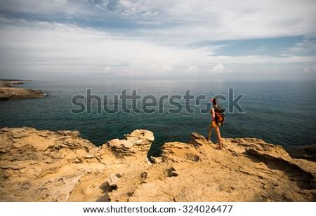View of a Blue Lagoon near Polis city, Akamas Peninsula National Park, Cyprus - stock photo