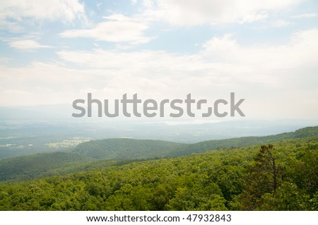 view of a blue lake from Mount Magazine - stock photo