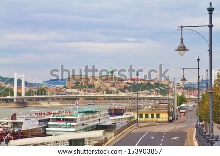 View of a Buda Castle and Elizabeth bridge, Budapest Hungary - stock photo