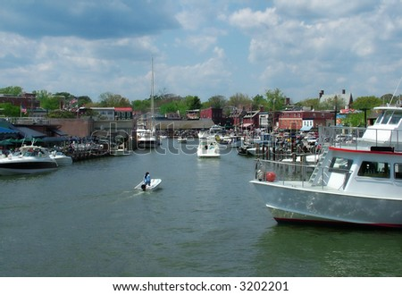 View of a busy Annapolis harbor, home of U. S. Naval Academy - stock photo
