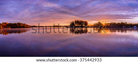 View of a cabin by the lake in Ontario Canada - stock photo