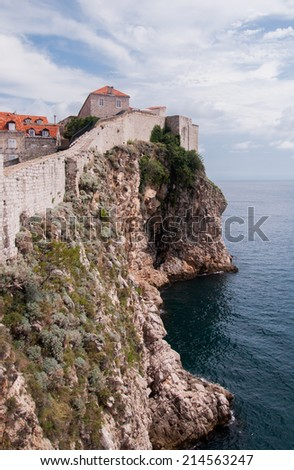 View of a citadel near the old city of Dubrovnik, Croatia - stock photo