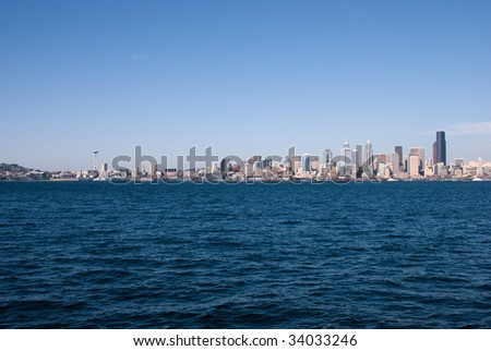 View of a city skyline on water - stock photo