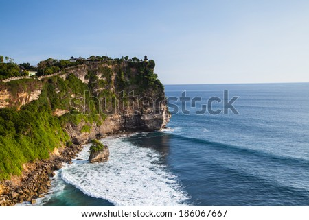 view of a cliff in Bali Indonesia - stock photo