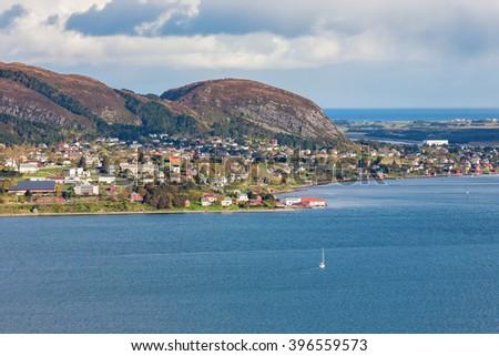 View of a coastal community on the Norwegian coast - stock photo