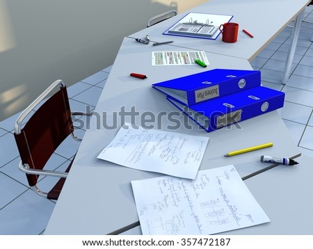 View of a conference room table with a chair, ring binders, felt tip markers, pencils, handwritten notes and other documents, as well as a coup of coffee - stock photo