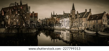 View of a decorated quay in Bruges, Belgium - stock photo