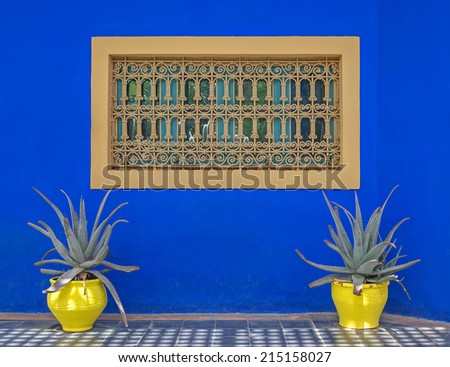 View of a decorative house wall in Marrakech in Morocco - stock photo