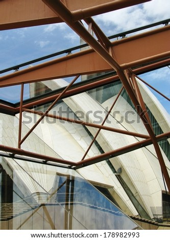 View of a detail of the Sydney opera house in Australia on 16 december 2013 in Sydney. - stock photo