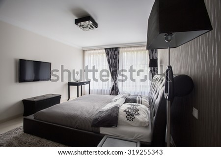 View of a fancy bedroom in modern style - stock photo