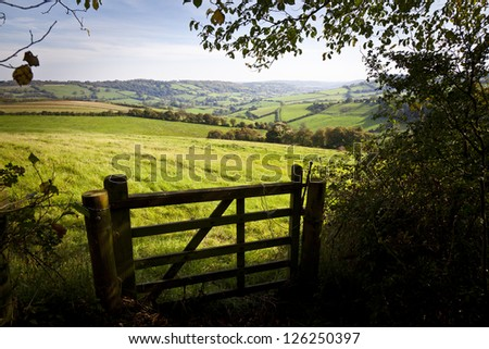 View of a farm gate leading into lush green countryside. - stock photo