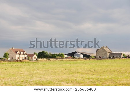View of a Farmland Field in Rural England - stock photo