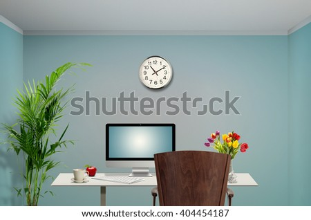 View of a Female work station in the office - stock photo