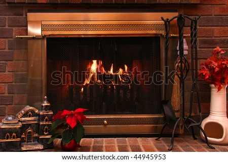 View of a fireplace at Christmas - stock photo