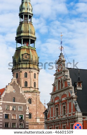 View of a fragment of the old Riga. Latvia - stock photo
