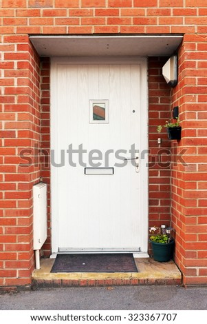 View of a Front Door of a London Town House - stock photo