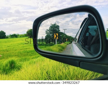 view of a glass side of the car - stock photo
