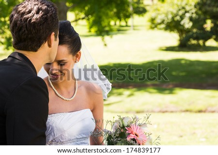 View of a groom kissing his beautiful bride at the park - stock photo
