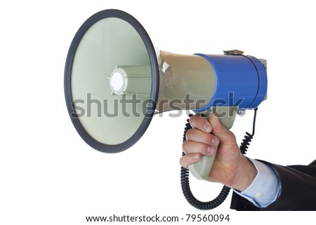 View of a hand holding a megaphone. Isolated on white background. - stock photo