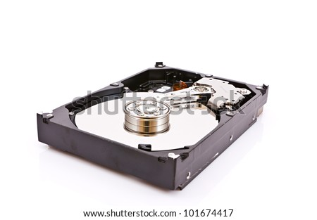 view of a hard drive - stock photo