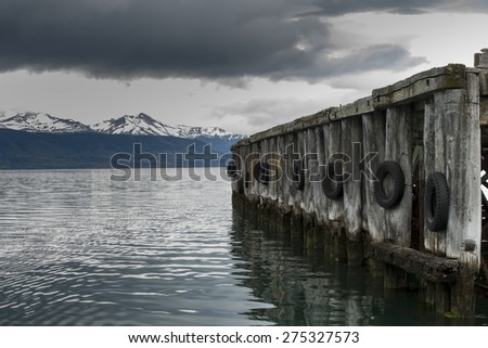 View of a jetty at lake, Golfo Almirante Montt, Puerto Natales, Patagonia, Chile - stock photo