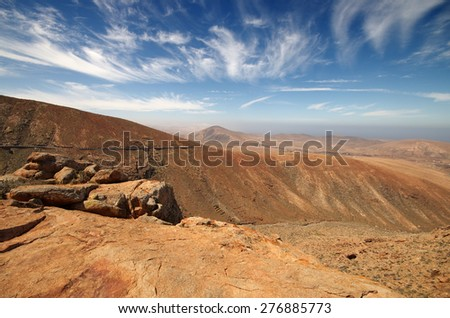 view of a landscape of Fuerteventura, Canary Islands, Spain, from Lookout Risco de las Penas - stock photo
