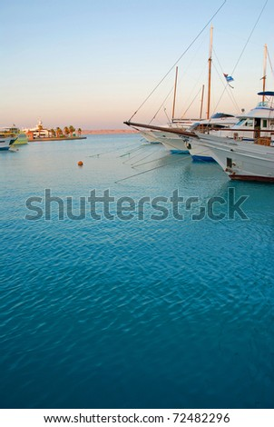 View of a marina with boats - stock photo
