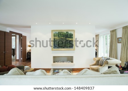 View of a modern and spacious living room - stock photo