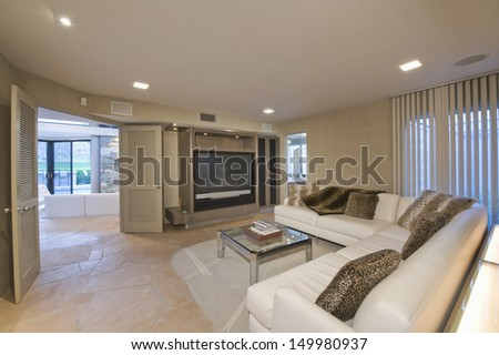 View of a modern and spacious television area at home - stock photo