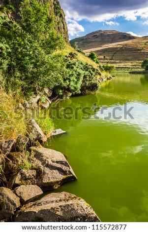 View of a mountain lake in Scotland - stock photo