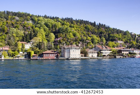 View of a neighborhood on Asian side of Istanbul from boat tour - stock photo