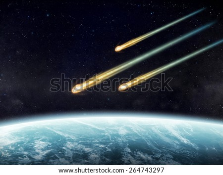 View of a planet from space during meteorite impact 'Elements of this image furnished by NASA' - stock photo