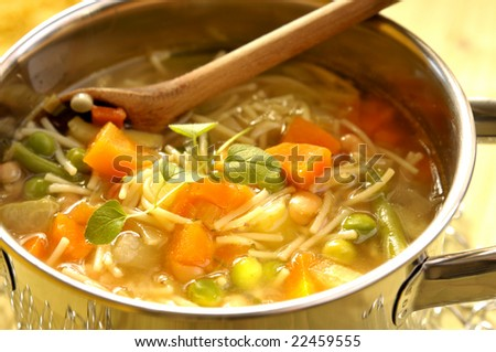 View of a pot hot minestrone soup - stock photo