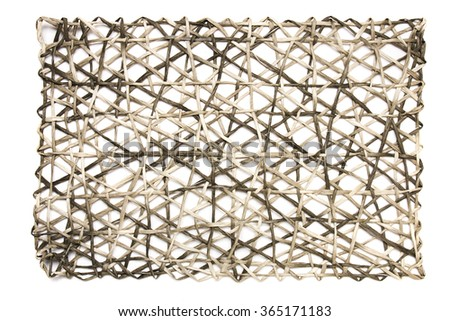 View of a rectangular mat for placing plates when having a meal. - stock photo