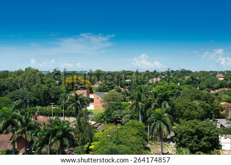 View of a residential neighborhood at Asuncion, Paraguay - stock photo