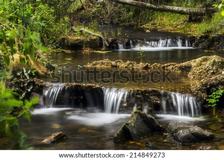View of a river stream on the beautiful Monchique region on Portugal. - stock photo