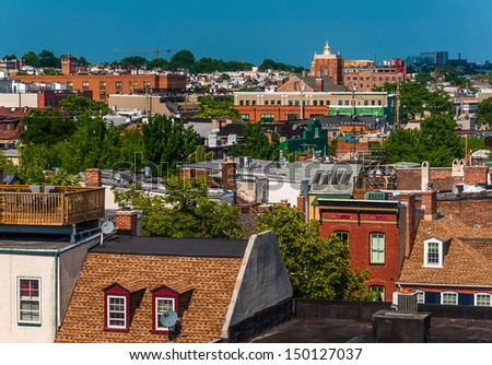 View of a run-down residential area of Baltimore, Maryland. - stock photo