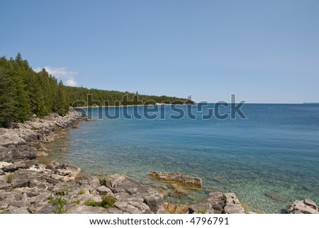 View of a scenic lake with clear water. Georgian Bay, Canada. - stock photo