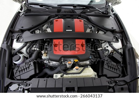 View of a six cylinder powerfully engine of a modern sports car.  Sports Car engine.  - stock photo