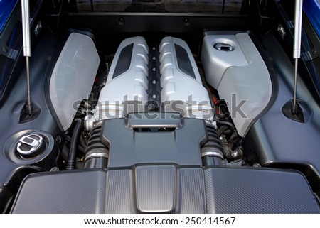 View of a ten cylinder powerful engine or a modern sports car.  Sports car engine.  - stock photo