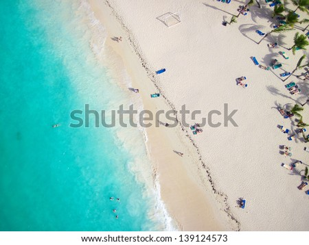 View of a tropical beach from above - stock photo